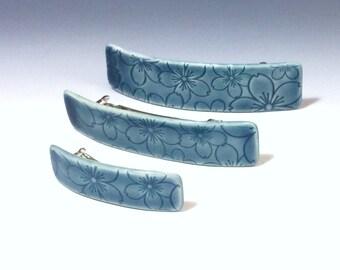 Ceramic Barrette, Medium Size Barrette, Blue Barrette, Porcelain Barrette, French Barrette, Ceramic Hair Clip, Cherry Blossom Flower Pattern