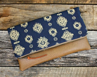 Blue ikat Foldover Clutch / Kindle Case