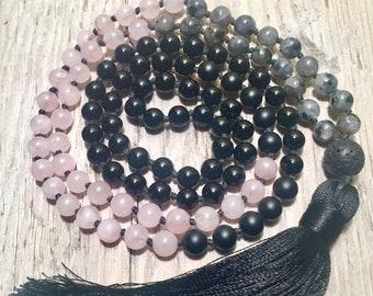 SELF LOVE Mala | Rose Quartz Mala Necklace | Labradorite Mala Beads | 108 Mala Beads | Gemstone Mala | Tassel Mala | Meditation Beads | Mala