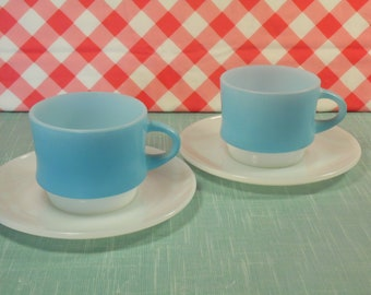 Fire King Tea Cups And Saucers - Blue Mosaic - Anchor Hocking - Set of 2 - Stackable Cups - 1960s