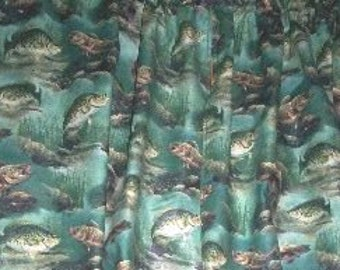New Green River Crappie Lake Catch Fish Fishing Pole Pond Window Curtain  Valance Limited Supply