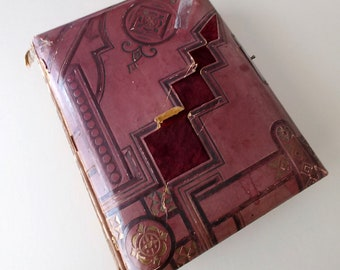 Vintage, Burgundy Paper and Velvet Covered Victorian Era Photo Album Book, Shabby, Antique