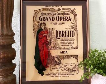 "Framed Metropolitan Opera House ""Aida"" Libretto Glass Wall Art"