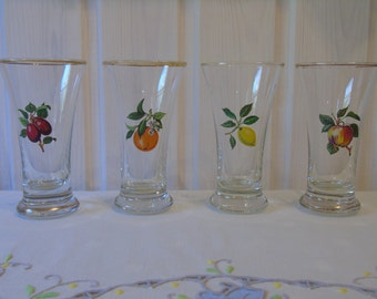 Set of Four Hand Blown Transfer Printed Vintage Glasses - Drinking Glasses - Barware - Vintage Fruit Glassware - Gilt Edged Glasses -