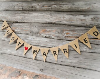 Just Married Bunting Just Married Sign Just Married Banner Just Married Car Sign Wedding Banner Wedding Decor Burlap Banner