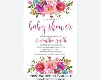 Baby Shower Invitation-Shabby Chick Baby Shower-Digital File-Boho Baby Shower Invitation-5x7-Vintage Invitation-It's a Girl Invitation