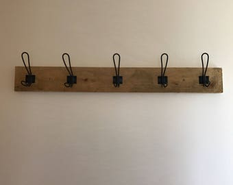 Wooden industrial style coat & accessory hook
