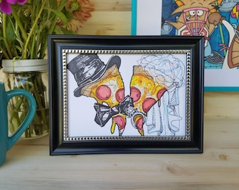 Pizza's Getting Married/ Pizza Wedding Art/ Original Pizza Illustration/ Pizza Bride/ Pizza Groom/ Pizza Couple/ Pizza for Lovers/ Pizza Art