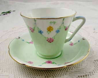 Royal Grafton Green Tea Cup and Saucer with Hand Painted Flowers, English Bone China