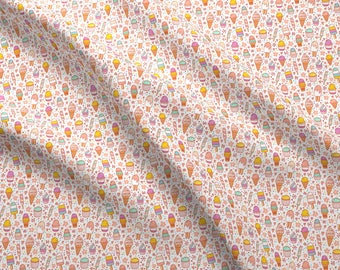 Kawaii Ice Cream Fabric - Ice Cream By Stolenpencil - Kids Summer Ice Cream Pastel Cotton Fabric By The Yard With Spoonflower