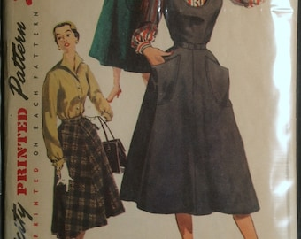 Simplicity 4838 Misses Jumper, Blouse & Skirt Vintage 50s Sewing Pattern Sz 16 and 18