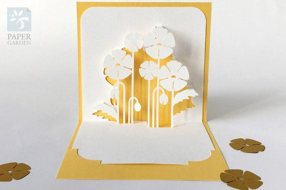 Papercut Template Pop-up Card Poppies Instant Download