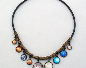 Solar System Necklace, 9 Planets Bib Necklace, Space pendants, Universe Galaxy Colorful Solar System Statement Science jewelry on black cord