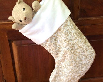 Elegant Ivory White & Gold Christmas Stocking, Quality Padded and Lined, 55cm Long