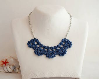 Blue necklace Navy blue pendant necklace Blue bib necklace for women Sister blue gift Necklace for mom Perfect spring winter summer Elegant
