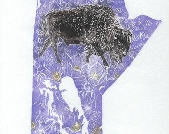 Manitoba, bison and crocus linocut - Lino Block Print Maps of Canadian Provinces & Territories with Symbols, Manitoba, Bison, Crocus