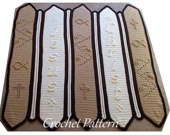 Crochet Pattern, Christian Afghan, Religious Crochet, Jesus Crochet, Fish Symbol, Cross Blanket, Downloadable