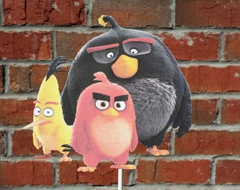 1 Angry Birds Movie themed Cake Topper or Centerpiece Pick