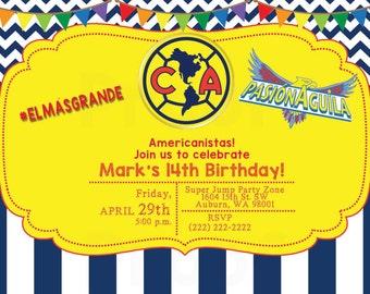 Club America  El America Americanista Invitation - Digital Download or Printed w Envelopes (English or Spanish)