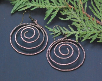 Antique Copper Wire Spiral Copper Earrings Wrapped Hoop Earrings Long Unique Statement Earrings Wire Wrapped Jewellery Metal Wire Jewelry