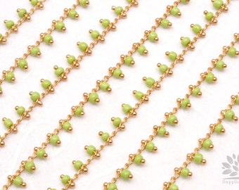 C300-YG// Gold Plated Yellow Green Beads Chain, 50cm
