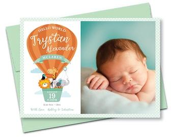 Photo Birth Announcement - Hot Air Balloon Baby Announcement, Gender Neutral baby - DIY printable digital file - Cute Jungle Animals