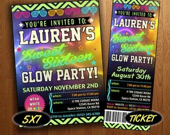 Sweet 16 Glow Party Invite: Printable