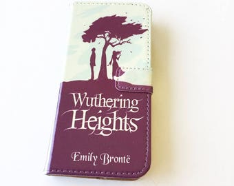 Book phone /iPhone flip Wallet case- Wuthering Heights for  iPhone X, 8, 7, 6, 6 7 & 8 plus, Samsung Galaxy S9 S8 S7 S6 S5 Note 4 5 7 8, LG