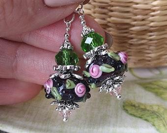Rose Earrings Flower Earrings Garden Earrings Vintage Style Lampwork Earrings Glass Earrings Bright Earrings Cute Earring