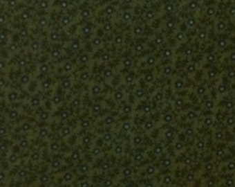 Cotton Fabric / Calico Cotton Fabric / Green Calico Fabric / Vintage Fabric / 1 Yard