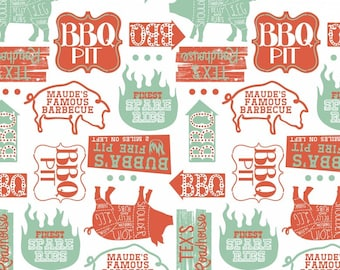 Ma Ribs & Bibs Open Pit White by Maude Asbury for Blend Fabrics