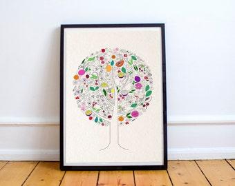 Fruit Tree Illustration Print