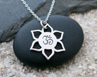 Om Lotus Necklace, Sterling Silver Om Lotus Pendant, Yoga Jewelry