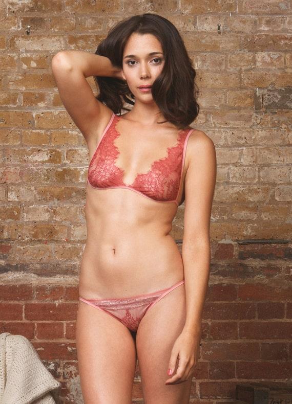 chantilly lace soft bra & panty lingerie set sheer lingerie