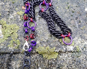 Black Purple & Red Half-Persian Weave Chainmaille Necklace