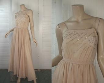 Blush Formal Disco Dress- 70s Beaded Studio 54 Vintage Wedding Prom Dress in Beige Peach- 1970s Sheer Chiffon Long Dress, Spaghetti Straps