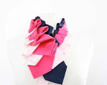 Lapel in Hot Pink Color Block - Edwardian Silk Ruffle Couture Necktie Collar