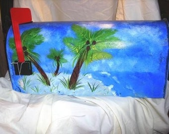 Palm Tree Beach Hand Painted Mailboxes