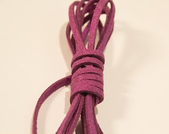 Glitter 3 mm, color plum suede cord