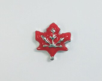 1 PC - Red Maple Leaf Enamel Silver Charm for Floating Locket Jewelry F0114