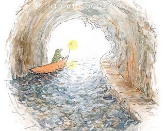 Children's Watercolor Illustration: Crocodile's Journey