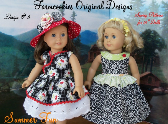 """Like American Girl Doll PDF Sewing Pattern / SUMMER FUN / Farmcookies Instant Download 18"""" Doll Clothes Pattern For American Girl®"""