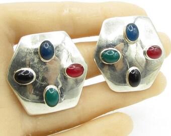 Mexico 925 sterling silver - multi - color carnelian hexagonal earrings - e1024