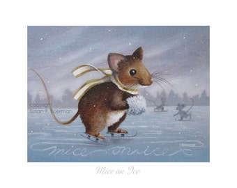 8 x 6 Mice on Ice - Fine Art Print of a Mouse with a White Muff and Scarf Skating on a Pond with Silhouetted Mice on a Wintry Day