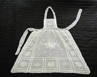 Handmade crochet apron, antique vintage years ' 40 made in Italy, grandma, Mother's Day, kit, bride, kitchen, apron