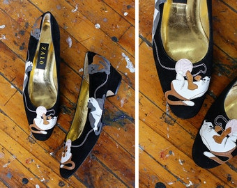 Novelty Cat Shoes 8 1/2 • Zalo Shoes • 80s Shoes • Leather Shoes • Slip On Shoes • Cat Slippers • Leather Applique Black Heels  | SH425