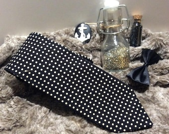 Black retro tie with white polka dots - an air of Dandy - cotton canvas