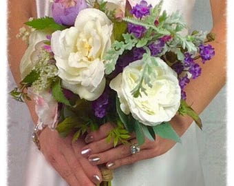 Wedding Bouquet, Bridal Bouquet, Silk Bouquet, Plum Bouquet, Artificial Bouquet, Flower Bouquet