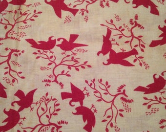 Vintage Feedsack Fabric Material Flour sack Songbirds Trees Cotton