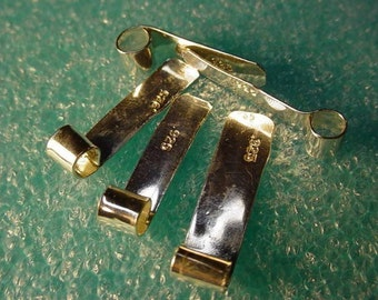 tube bails rectangular of solid .925 sterling silver handmade custom or about 4 to 6mm wide x about 15 to 25mm long bale - 10 pieces